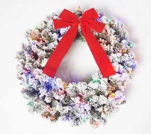 """Bethlehem Lights 26"""" Flocked Overlit Wreath Multi-Color Lights"""