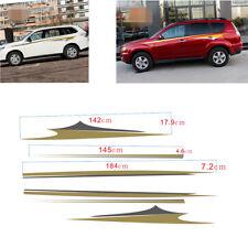 2Pcs Car Side Body Flame Wheel Stripe Pattern Decal Sticker Akin Gold+Dark gray