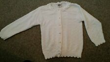 Vtg Hot Fudge Kids Sweater White Lace collar~Pearl buttons~Usa Made size 5/6