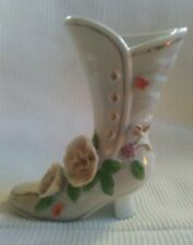 white floral high heeled boot decorative ornament vase
