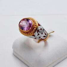 RING PINK SAPPHIRE 18K PINK WHITE GOLD FILLED GP WOMEN MEN SOLITAIRE CARVED SZ 9