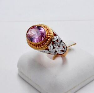 MEN RING PINK SAPPHIRE 18K PINK WHITE GOLD FILLED GP WOMEN PINKY CARVED SIZE 6.5