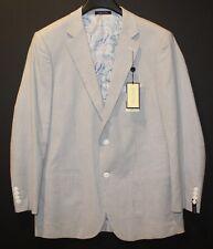 Alan Flusser Mens Gray Blue White Pinstripe Cotton Blazer Sports Coat NWT Size M