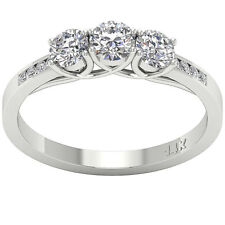 Natural Diamond Solitaire 3 Stone Ring Band SI1 H 1.01Carat White Gold Appraisal