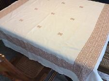 Vintage Linen Crossstiched White and Khaki Tablecloth