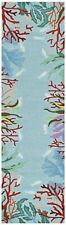 """RUNNERS - """"CATALINA"""" HAND HOOKED CORAL REEF BORDER RUG - BLUE - 24"""" x 90"""" RUNNER"""