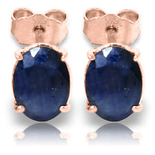 2 Carat 14K Solid Rose Gold Stud Earrings Natural Sapphire
