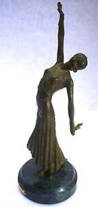 "Bronze Sculpture by Chiparus Art Deco Belly Dancer 11-7/16"""