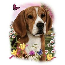 BEAGLE with Flowers on One 18 x 22 inch Fabric Panel to Quilt or Sew. SALE!