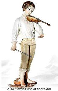 Statua in porcellana di ragazzo con violino statua decoro bambino violinista