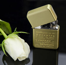 ENGRAVED GOLD lighter SERENITY PRAYER Petrol Personalised AA anonymous alcoholic