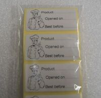 100 x Catering Product /& Use By Date Adhesive Labels WHITE stickers Opened On