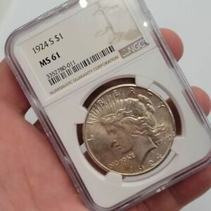 1924-S Peace US Silver $1 Dollar NGC MS61 Graded Certified Free Shipping Uncirc