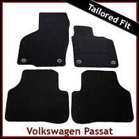 Volkswagen VW Passat B6 B7 2005-2015 Round Clips Tailored Carpet Mats BLACK