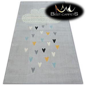 MODERN KIDS ROOM RUG grey Cloud Hearts Bird 'PASTEL' Thick CHEAP Best-Carpets