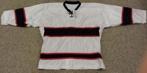 New Hockey Jersey Size M OT SPORTS  White/ Blue/ Red And Socks
