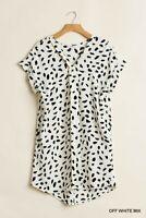 Umgee White/Black Spotted Dalmatian Animal Print Dress
