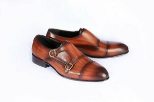 Handmade Men Shaded Brown Leather Double Monk Shoes, Business/ Office Shoes