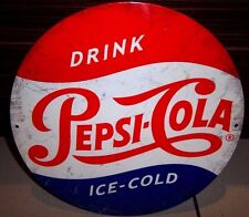 "PEPSI COLA, ICE COLD,  ROUND 12"" METAL WALL SIGN, REPRO, BAR/DINER/KITCHEN, USA"