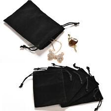 5x gioielli borsa collana di velluto nero orecchini Storage Bag display BageWQTY