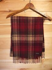 Fraas Cashmere Wool Blend Check Scarf Red/Brown