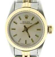 Lady Rolex 18k Gold/Stainless Steel Oyster Perpetual No Date Watch Silver 67193