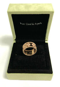 Van Cleef 8 Arpels Classic Clover 18K Rose Gold Diamond Ring 7mm