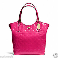 Coach Bag F25703 Peyton Op Art Embossed Patent Tote Pomegranate Agsbeagle COD