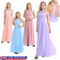 UK Women Halter Lace Chiffon Bridesmaid Dress Long Evening Party Prom Gown #8-20