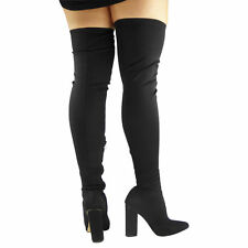 WOMENS LADIES STRETCHY THIGH HIGH OVER THE KNEE LYCRA BLOCK HEEL BOOTS SIZE 3-8