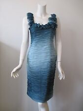 Adrianna Papell Boutique Teal Ruffle Sleeveless Cocktail Dress 8
