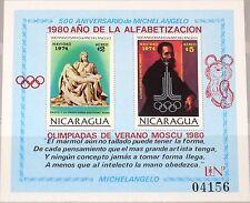NICARAGUA 1980 Block 118 500th Ann Michelangelo Mischa Olympics Moscow opv MNH