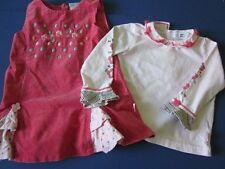 Deux Par Deux Girl 24 MO Dress Set Jumper Shirt Pink Floral Dots Corduroy Outfit