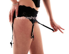 WIDE LACE SUSPENDER BELT AND MATCHING SHINE STOCKINGS