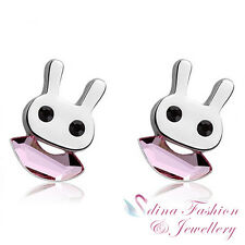 18K White Gold Plated Made With Swarovski Crystal Cute Bunny Stud Earrings