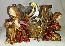 Kneeling Angels Playing Musical Instruments Round Pillar/Votive Candle Holder