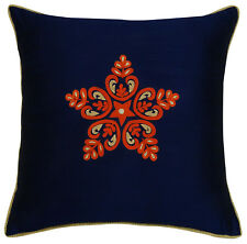 Navy Blue Floral Embroidered Cushion Cover Throw Square Poly Dupion Pillow Case