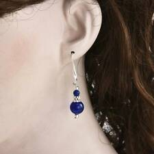 Beautiful Handmade Bold Blue Lapis Lazuli Silver Fashion Women Earrings 6-12mm