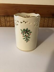 "Lenox Holly 6"" Pierced Votive Candle Holder With Gold Trim"