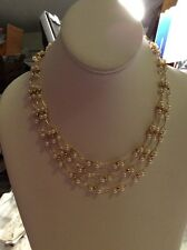 $36 Ann Klein Multi Layer Gold Tone Pearl Necklace A103