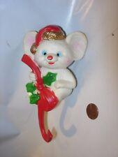 "Vintage Plastic Celluloid 6"" Christmas mouse white Ornament Stocking Shelf Hook"