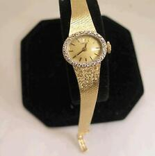 Luxury Omega Swiss Made 14 K Solid Yellow Gold and Diamond Mesh Watch With Box