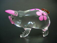 Verre Cochon Porcelet Verre Ornement En Verre Clair Rose Floral Peint Verre Animal