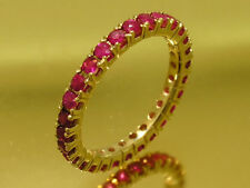 sR122- Genuine 9ct SOLID Gold NATURAL Ruby FULL Eternity Ring Band size O