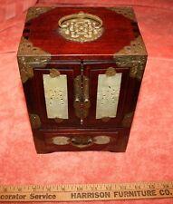 Vintage Chinese Jade Insert Travel Jewelry Chest Box Dove Tail & Brass Corners