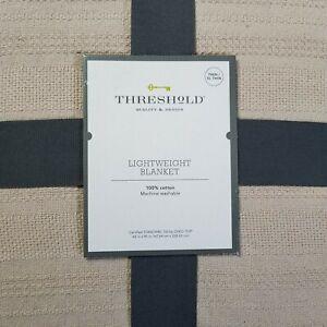 Threshold Twin XL Twin Textured Stripe 100% Cotton Lightweight Blanket Natural