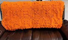 Vintage Orange Crocheted Afghan Blanket Throw Granny Squares 3D Flowers 50x70