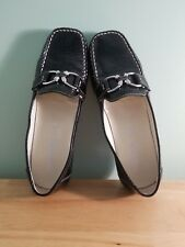 GEOX RESPIRA Women's Black Patent Leather White Stitched Slip On Loafers Size 10