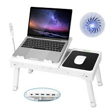 Foldable Laptop Table Bed Notebook Desk w/Cooling Fan Mouse Board LED light 4USB