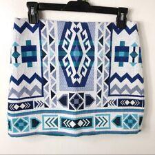 Divided H&M Blue Print Aztec Print Mini Skirt Womens 6